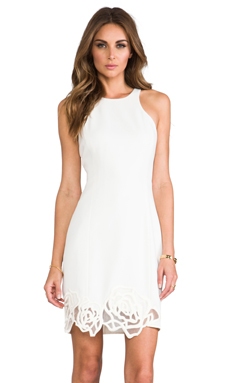 Halston Heritage Racer Tank with Applique Hem in Chalk