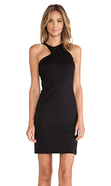Halston Heritage Asymmetric Neck Dress in Black