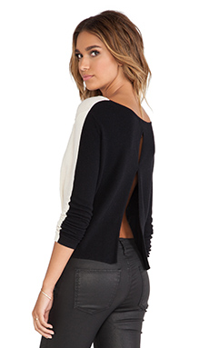 Halston Heritage Color Blocked Sweater in Chalk & Black