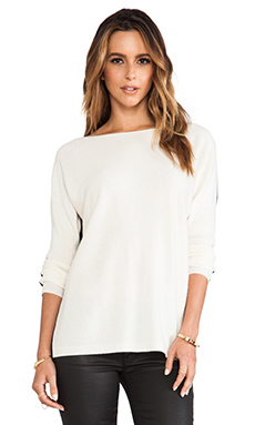 Halston Heritage Long Sleeve Colorblock Sweater With Ribbed Sleeve in Cream/Black