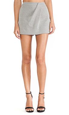 Halston Heritage Drape Front Skort in Heather Stone