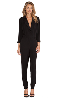 Halston Heritage Lapel Detail Jumpsuit in Black