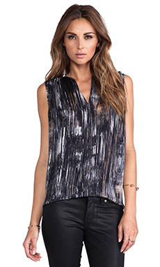 Halston Heritage Notch Neck Top in Black Brushstrokes