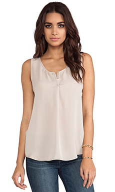 Halston Heritage V Neck Top With Lace Side Panels in Seastone