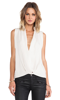 Halston Heritage V Neck Drapey Top in Eggshell