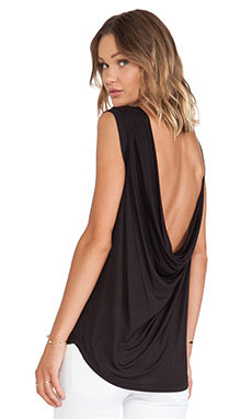 Halston Heritage Asymmetric Sleeve Drape Back Top in Black