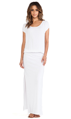 Monrow Crepe Woven Maxi Dress in White