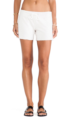 Monrow White Fleece Vintage Shorts in Bone