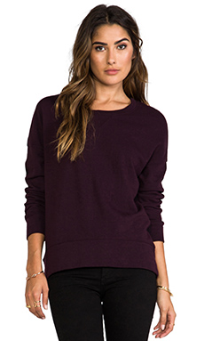 MONROW Half and Half Oversized Sweatshirt in Vamp