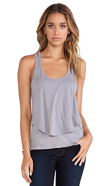 MONROW Cotton Modal Double Crop Tank in Haze