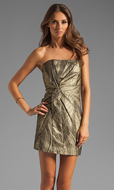 Haute Hippie Twist Front Strapless Dress in Black/Gold