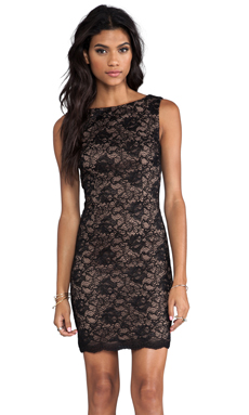 Haute Hippie Lace Dress in Black/Suntan
