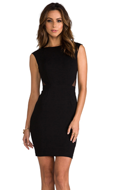 Haute Hippie Dress with Deep V Back and Side Cut Outs in Black