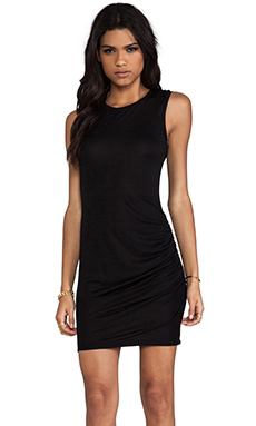 Haute Hippie Side Gathered Dress in Black