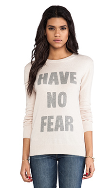 Haute Hippie Have No Fear Graphic Sweater in Buff & Light Heather Grey
