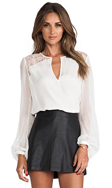 Haute Hippie Lace Blouse in Swan & Swan Lace