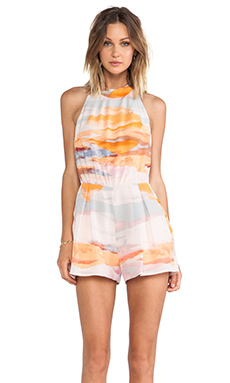harlyn Strappy Romper in Sunset Print