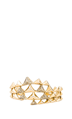 House of Harlow Pyramid Wave Pave Cuff in Gold