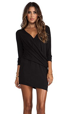 Heather Long Sleeve V Tuck Dress in Black