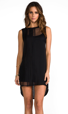 Heather Silk Collage Mini Dress in Black