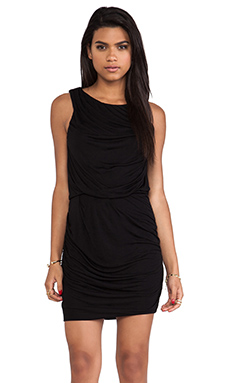 Heather Drape Mini Dress in Black