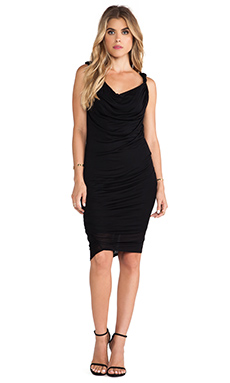 Heather Double Cowl Cascade Dress in Black