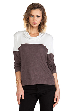 Heather Colorblock Funnel Top in Quicksilver/Heather Mocha