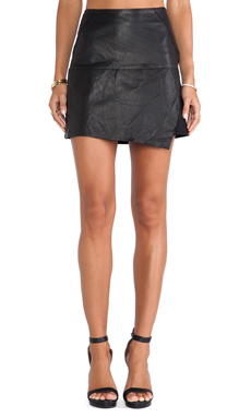 Heather Asymmetrical Leather Skirt in Black