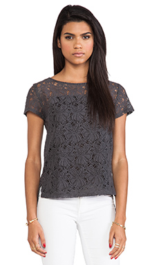 Heather Lace Pocket Tee in Dark Slate