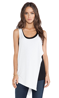 Heather Double Layer Cut Out Tank in White & Black