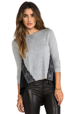Heather Lace Color BlockTop in Light Heather Grey/Black