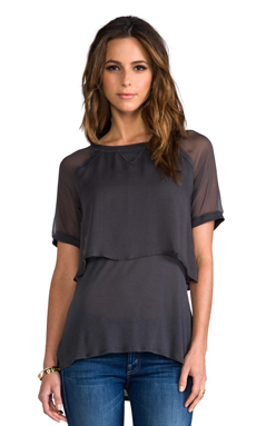Heather Double Layer Silk Tee in Graphite