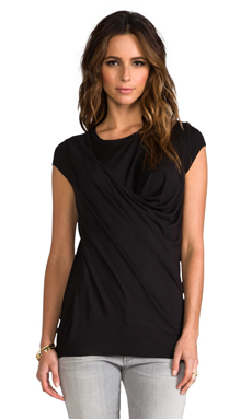 Heather Drape Tee in Black