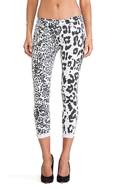 Hudson Jeans Harkin Crop Super Skinny with Cuff in Black/White Leopard