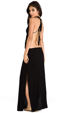Indah Nyx Rayon Crepe Split Front Open Back Halter Maxi Dress in Black