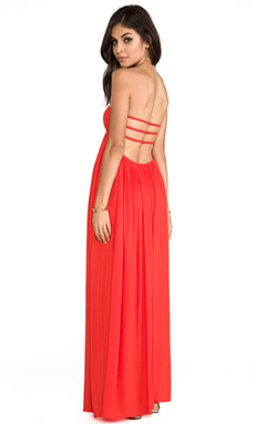 Indah Flamingo Rayon Crepe Smocked Bandeau Maxi Dress in Papaya