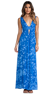 Indah Anjeli Empire Maxi Dress in Blue Salt