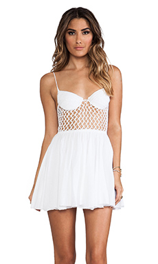 Indah Frankie Crochet Bustier Cocktail Dress in White