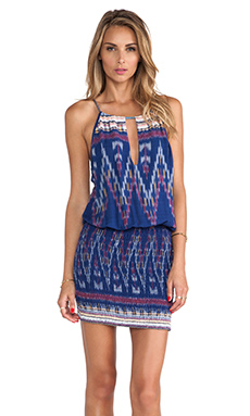 Indah Canoa Cut Away Smock Mini Dress in Indigo Endek