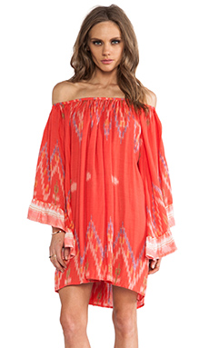 Indah Celeste Angel Wing Mini Dress in Coral Endek