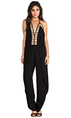 Indah Gypsy Deep V Cut Out Trim Jumpsuit in Black