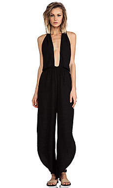 Indah Pearl Cross Front Halter Jumpsuit in Black