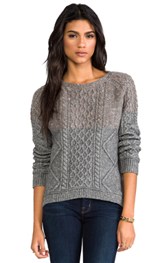 Inhabit Cable Knit Pullover in Mid-Grey