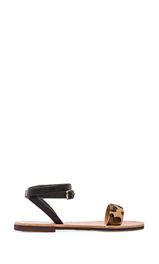 isapera Lanthe Sandal with Calf Fur in Leopard