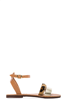 isapera Llianthos Sandal with Calf Fur in Gold