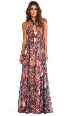 Issa Printed Maxi Halter Dress in Coral