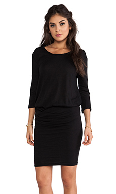 James Perse Crepe Jersey Dress in Black