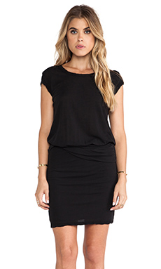 James Perse Twisted Belt Dress in Black