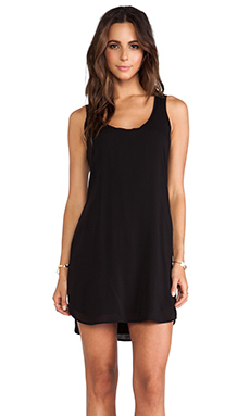 James Perse A-Line Chiffon Tank Dress in Black