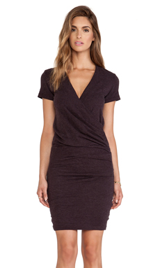 James Perse Wrap Tee Blouson Dress in Fig
